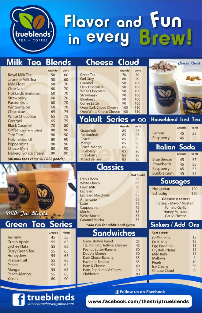 True Blends Menu