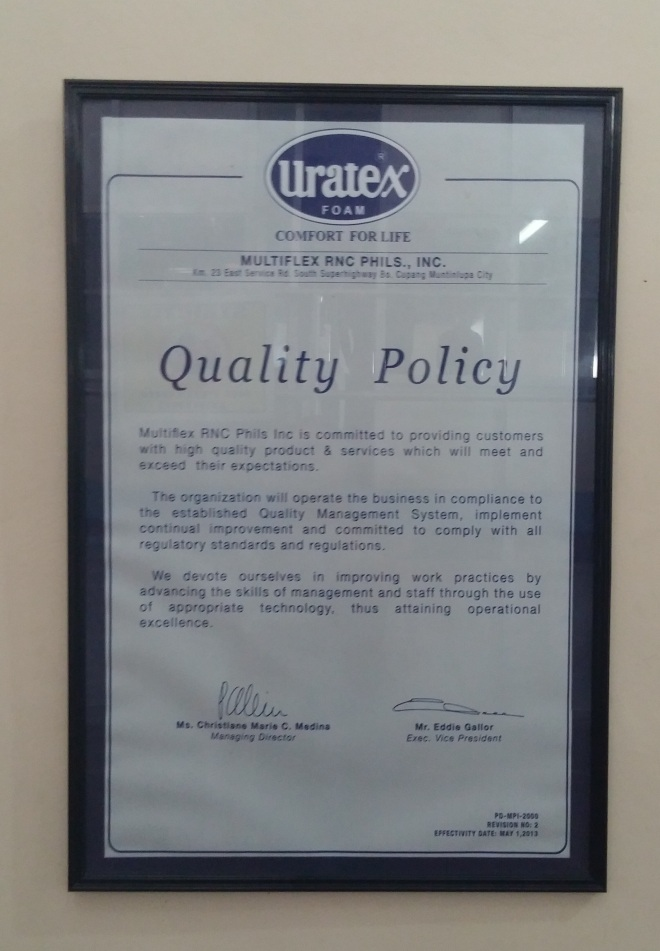 Uratex - Quality Policy