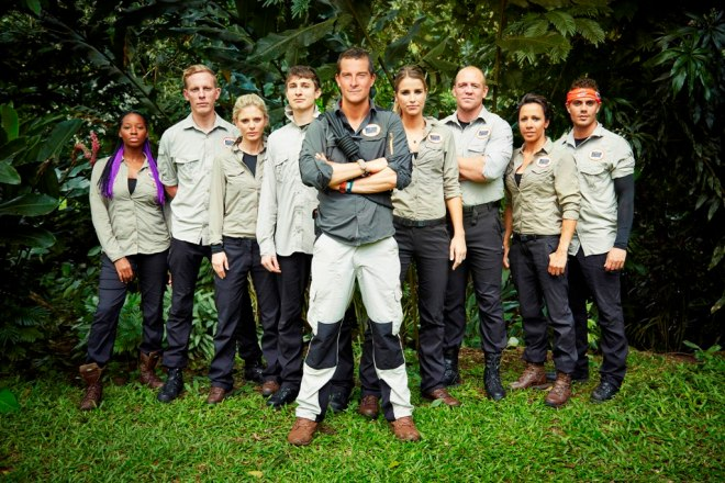 This image is strictly embargoed until 00.01 Monday 2nd February 2015 From betty Bear Grylls' Mission Survive on ITV Pictured: Jamelia, Laurence Fox, Emilia Fox, Tom Rosenthal, Bear Grylls, Vogue Williams, Mike Tindall, Dame Kelly Holmes and Max George. This photograph is (C) betty and can only be reproduced for editorial purposes directly in connection with the programme or event mentioned above, betty or ITV plc. Once made available by ITV plc Picture Desk, this photograph can be reproduced once only up until the transmission [TX] date and no reproduction fee will be charged. Any subsequent usage may incur a fee. This photograph must not be manipulated [excluding basic cropping] in a manner which alters the visual appearance of the person photographed deemed detrimental or inappropriate by ITV plc Picture Desk. This photograph must not be syndicated to any other company, publication or website, or permanently archived, without the express written permission of ITV Plc Picture Desk. Full Terms and conditions are available on the website www.itvpictures.com For further information please contact: james.hilder@itv.com / 0207 157 3052