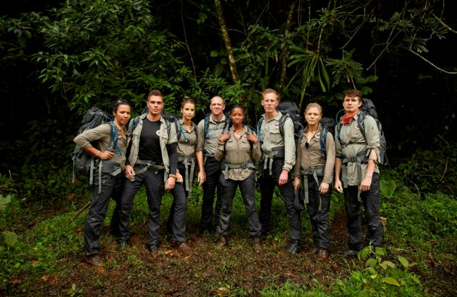 This image is strictly embargoed until 00.01 Monday 2nd February 2015 From betty Bear Grylls' Mission Survive on ITV Pictured: Dame Kelly Holmes, Max George, Vogue Williams, Mike Tindall, Jamelia, Laurence Fox, Emilia Fox and Tom Rosenthal. In Bear GryllsÕ Mission Survive the celebrity expedition team will be pushed to their physical and emotional limits. Issued daily mission briefings by Bear, they will have to navigate treacherous obstacles and journey through dangerous dense jungle, testing their ability to adapt, improvise and overcome in one of the worldÕs most hostile environments. This photograph is (C) betty and can only be reproduced for editorial purposes directly in connection with the programme or event mentioned above, betty or ITV plc. Once made available by ITV plc Picture Desk, this photograph can be reproduced once only up until the transmission [TX] date and no reproduction fee will be charged. Any subsequent usage may incur a fee. This photograph must not be manipulated [excluding basic cropping] in a manner which alters the visual appearance of the person photographed deemed detrimental or inappropriate by ITV plc Picture Desk. This photograph must not be syndicated to any other company, publication or website, or permanently archived, without the express written permission of ITV Plc Picture Desk. Full Terms and conditions are available on the website www.itvpictures.com For further information please contact: james.hilder@itv.com / 0207 157 3052